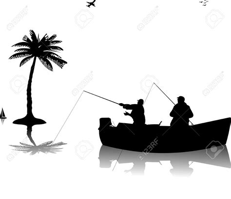 Fishing Boat Silhouette by 13972972 Two Fishermen In A Boat Fishing Near The Palm