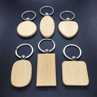 Keychain Wooden Wood Key Round Holder Rectangle