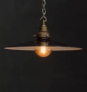 Es flat shade industrial pendant vintage lighting