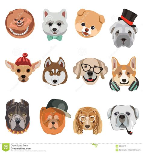 Cartoon Dogs And Hipster Puppy Face Muzzles Vector Icons ...