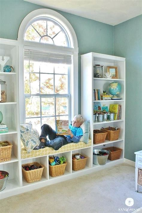 window bookshelf built  bookshelves window seat