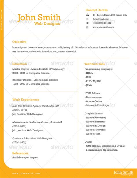 Single Page Resume Template Free by 24 Single Page Resumes Free Premium