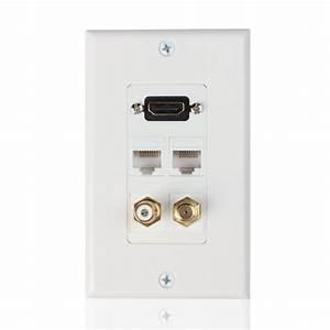 Hdmi Ethernet Rj45 Rca Coaxial Wall Plate Jack Socket