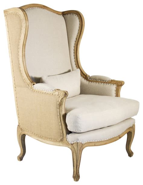 country high back linen wing chair farmhouse