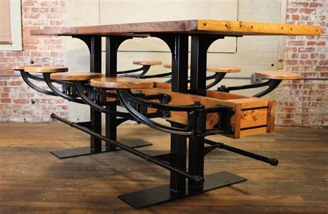 Pub Table Swing Out Seat Bar Vintage Industrial Wood and