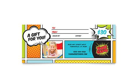 kids club gift certificate template word publisher