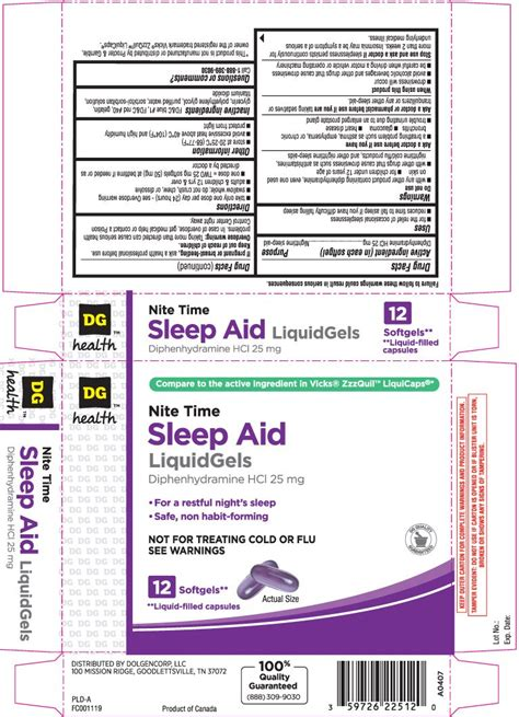 sleep aid dollar general nite dg liquid otc label rexall purple diphenhydramine