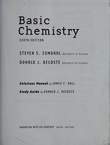 Basic Chemistry With Solutions Manual  U0026 Study Guide  2008