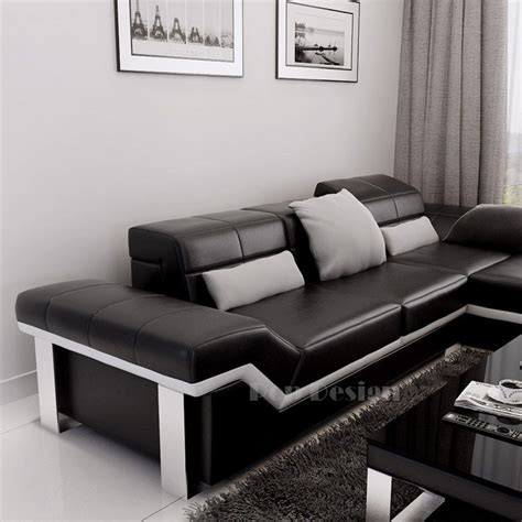 canapé d angle pouf canapé d 39 angle design en cuir torino pouf pop design fr
