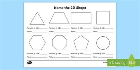 shape worksheet naming shapes activity