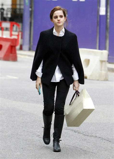 watson emma street london shopping december bond central around profile looks casual bag chic outfit spree stylish she coat celebmafia