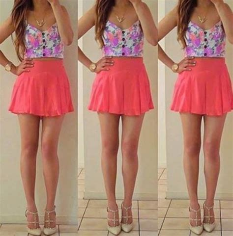 Dress cute girly summer pink flowers brunette hipster swag cute dress casual style ...