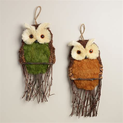 Then you'll love this cheap wall decoration idea for your bedroom or living room. Natural Fiber Owl Wall Decor, Set of 2 | World Market