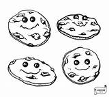 Cartoon Chocolate Cookies Outline Desserts Donuts Fudge Coloring Kawaii Drawing Pastries Strawberry Depositphotos sketch template