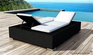 Lit Exterieur En Resine : lit de piscine double 2 personnes en rsine tresse noire 5 positions ~ Teatrodelosmanantiales.com Idées de Décoration