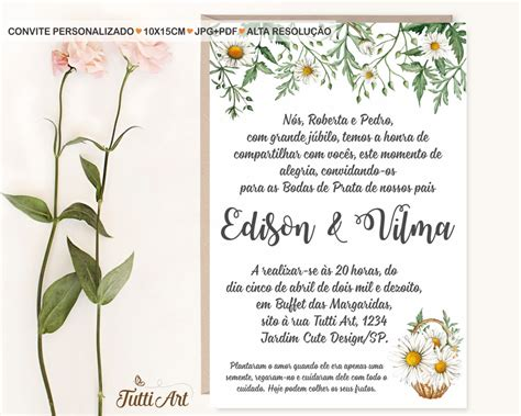 convite casamento bodas de prata bodas de ouro no elo7