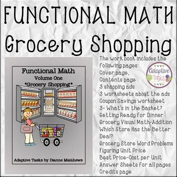 functional math volume 1 grocery shopping by adaptive tasks and more