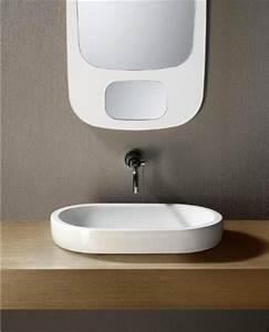 flat sleek oval shaped ceramic vessel sink by gsi With flat bathroom sinks