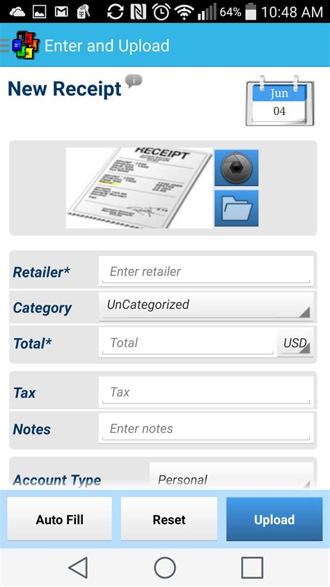 receipt scanner for tax expenses android back