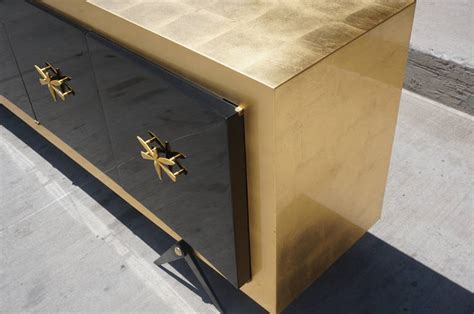 gold credenza exquisite gold leaf and black lacquer credenza by arturo