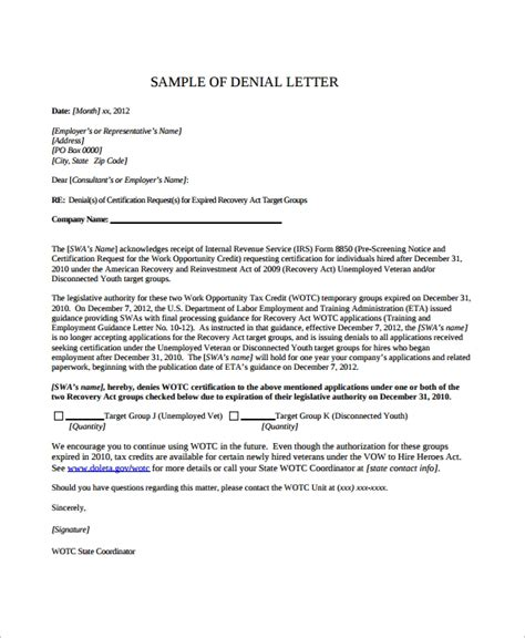 sample denial letter   documents   word