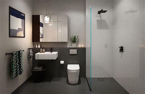 bathroom idea dark grey floors white walls  black