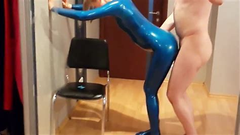 Doggystyle Sex With My Wife In Blue Latex Catsuit Porn 64