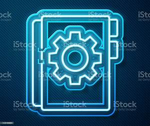 Glowing Neon Line User Manual Icon Isolated On Blue