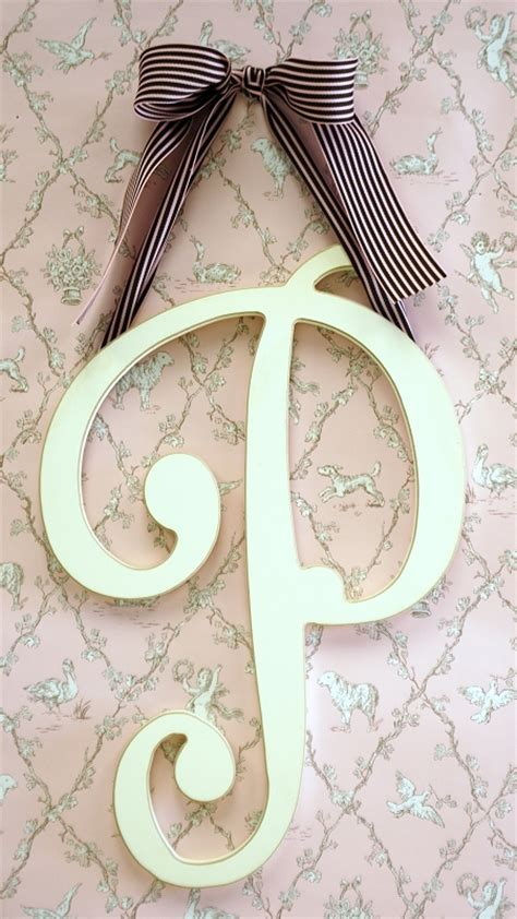 large wooden cursive wall letter  initial  monogram  girls room  baby nursery gift