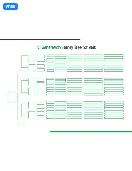 generation family tree template  kids