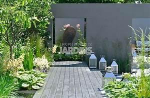 derriere des murs gris un espace dedie avec une salle a With modele de jardin avec galets 1 terrasse bois exotique jardin zen et fontaine youtube