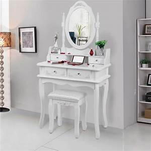 Miroir De Coiffeuse : songmics coiffeuse blanche 4 tiroirs avec 2 s parateurs un miroir et un tabouret achat ~ Teatrodelosmanantiales.com Idées de Décoration