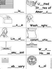 spelling activities  worksheets  presidents day