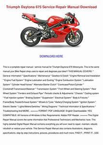 Triumph Daytona 675 Service Repair Manual Dow By