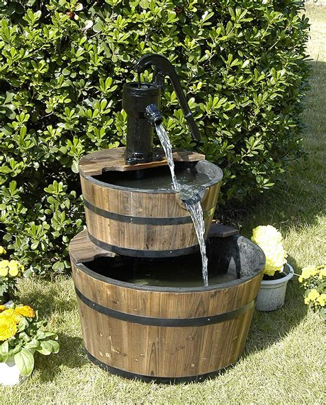 backyard water fountains rustic three tier apple barrel outdoor water