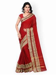 Buy Inddus Black Cotton & Art Silk Traditional Saree
