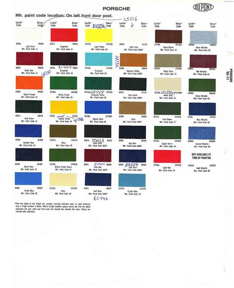 porsche colors chips codes paint s car paint colors color car painting