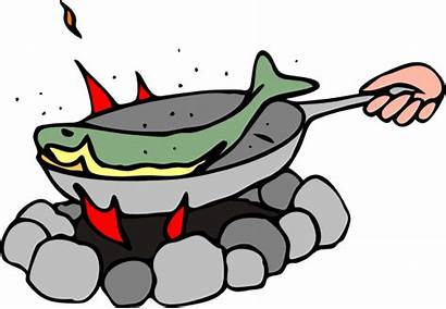 Fish Clip Frying Clipart Fry Cooked Campfire