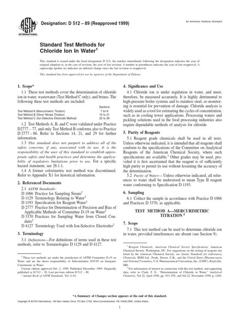ASTM D512 - Standard Test Methods for Chloride Ion in
