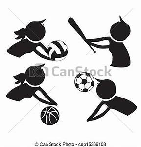Vector Clipart of icons of practice sports - four ...