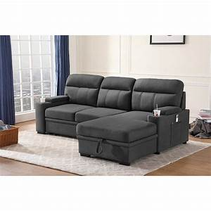 Kaden, Fabric, Sleeper, Sectional, Sofa, With, Storage, Chaise, And, Arms, -, On, Sale, -, Overstock