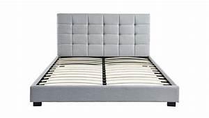 lit adulte avec tete de lit capitonnee en tissu gris clair With tapis de marche avec matelas pour canapé lit 140x190