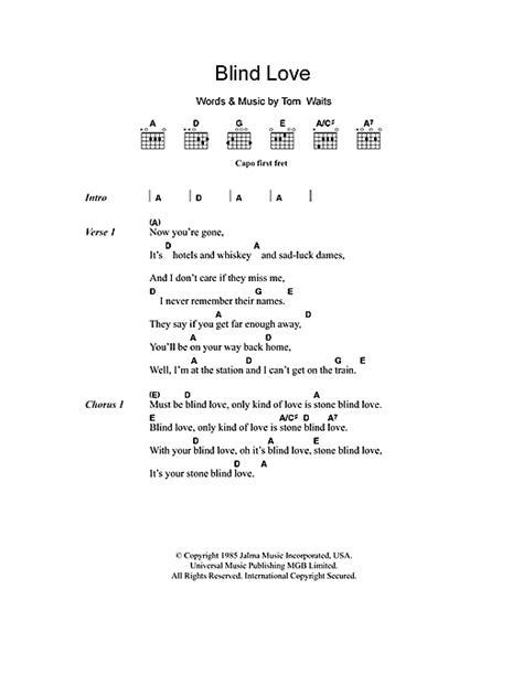 Blind Love Sheet Music By Tom Waits (lyrics & Chords 101134