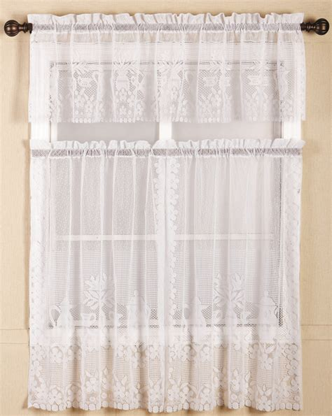 Lace Kitchen Curtains by Polyester 3pieces Lace Kitchen Curtains With Rod Pocket