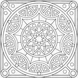 Square Coloring Mandala Mandalas sketch template