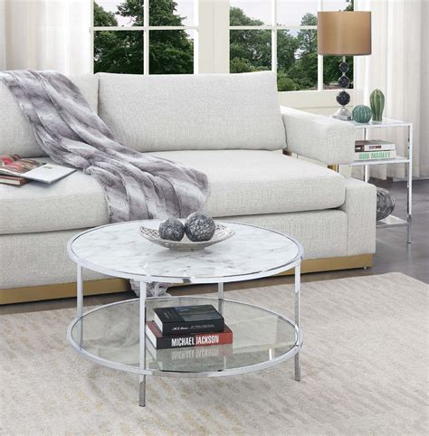Fast delivery to sydney, melbourne, brisbane, adelaide & australia wide. Convenience Concepts Gold Coast Carrara Round Coffee Table in White Faux Marble/Glass/Chrome ...