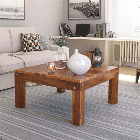 Solid Wood Traditional Rustic Square Coffee Table