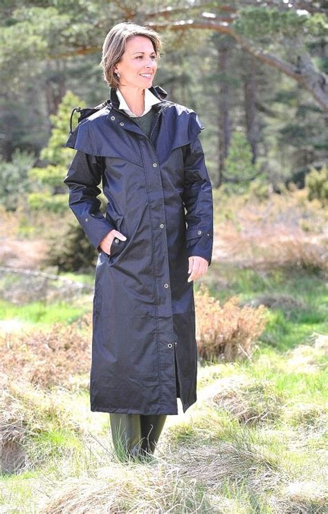 equestrian raincoat nylon rainwear mackintosh riding horseback waterproof weather length rain