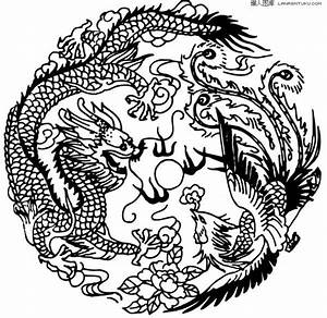 Chinese traditional auspicious dragon and phoenix pattern ...