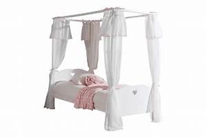 Lit Blanc Fille : lit fille baldaquin sarah cbc meubles ~ Teatrodelosmanantiales.com Idées de Décoration